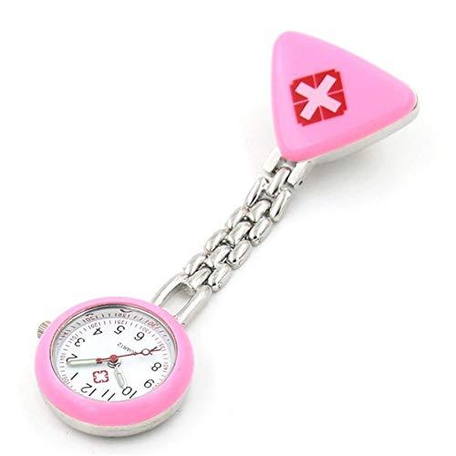 Moda Protable Enfermera Relojes con Clip Rojo Cruz Broche de Bolsillo Pendiente de Colgantes de Reloj de Cuarzo para los Relojes de Bolsillo Nurse Doctor (Color : Pink)