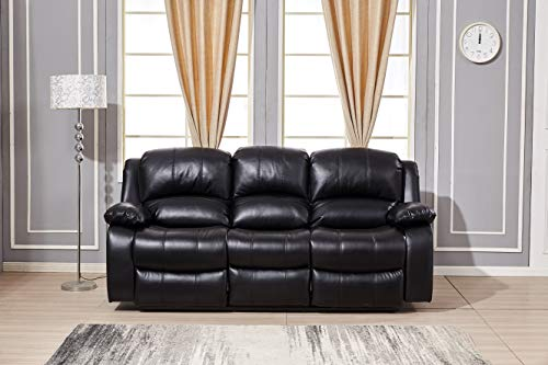 Betsy Furniture Power Reclining Bonded Leather Living Room Set (Black, Sofa)