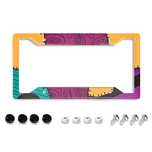 """Personalized License Plate Frame Metal Aluminum Nightmare Before Christmas Sally License Plate Cover Car Tag Holder with 4 Holes and Screws For Women Men Auto For USA Canada Vehicles Standard (12""""x6"""")"""
