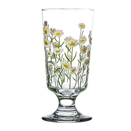 Cabilock Glasses Goblets Vintage Drinking Glass Daisy Beverage Glasses Water Cup Coffee Milk Tumbler for Wine Beer Cocktails Iced Juice (200-300ML) -  V7V00PG0509U06PVYR9Z964