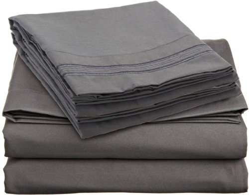 JS Sanders Affordable Microfiber 6 PC Bed Sheet Set - Queen Size, Gray