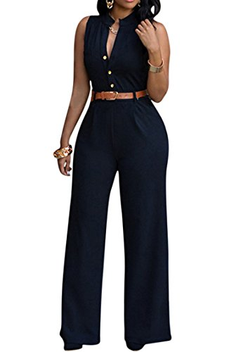 Pink Queen Womens Jumpsuits Black Sleeveless Stand Collar Belt Jumpsuits Rompers