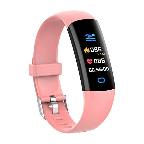 BingoFit Kids Fitness Tracker Watch with Heart Rate Monitor, Swimproof Kids Activity Tracker Pedometer Watch, Slim Sport Fitness Watch with Sleep Monitor, Calorie Counter for Kids Women Men (Pink)