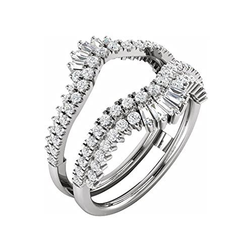 Anillo de oro blanco de 14 quilates pulido de 1 quilate con diamantes de talla N 1/2 para regalo de joyería para mujer