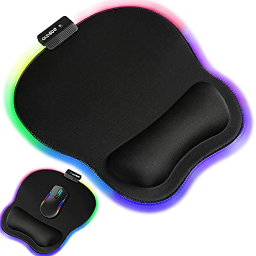 Qudodo RGB Ergonomic Mouse Pad with Wrist Support,11.2 x 9.3 in Marble Mouse Pads Lycra Fabric with Non-Slip PU Base,Static,Breathing Cycle for Home Office Working Studying Games & Pain Relief (Black)