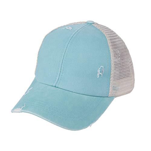 Gorra de béisbol para mujer, diseño vintage lavado, gorro de béisbol unisex, ajustable, gorra de béisbol para exterior azul celeste