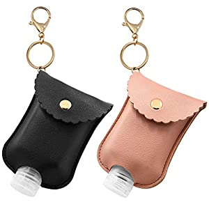 2 Pack Portable Squeeze Bottle, Empty Leakproof Plastic Travel Bottle with Leather Keychain Holder for Hand Sanitizer, Essential Oil, Refillable Bottle Clips to Travel Bag (Black+Pink)