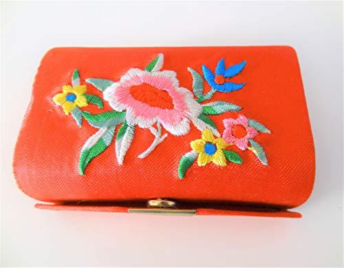 Dubbele lippenstifthouder met spiegel, draagbare juwelendoos, organizer bag Cosmetic Storage Kit voor portemonnee dames geschenken, zwart rood