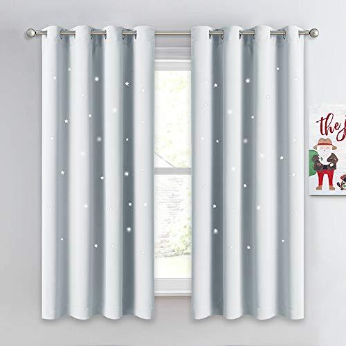 NICETOWN Room Darkening Curtain Panel - Zodiac Constellation Drape with Star Cut Out Design, Nursery/Kid's Bedroom Essential (1 Panel,52W x 63L, Platinum-Greyish White)