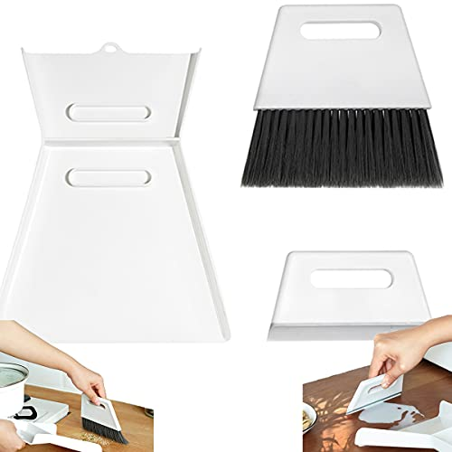 Cleaning Brush and Dustpan Set Desktop Sweep Broom,Table Dustpan and Brush,Broom Dustpan,Ergonomic Design High Hardness Table,Mini Dust Pan with Brush Desktop Hand Broom Brush