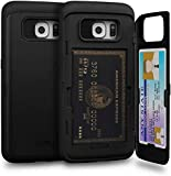 TORU CX PRO Compatible with Samsung Galaxy S6 Edge Case - Protective Dual Layer Wallet with Hidden Card Holder + ID Card Slot Hard Cover & Mirror - Matte Black