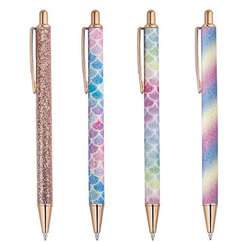 Bolígrafos de Bola 4 Unidades Bolígrafos Retráctiles de Metal Brillantina con Tinta Negra para Oficina Escuela Papelería, Punta Media (1,0 mm)