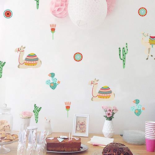 6 Unids/set Pvc de Dibujos Animados Camello Cactus Pegatinas de Pared Para Habitaciones de Niños Jardín de Infantes Salón Ventana Tienda Arte Mural Calcomanía Decoración Del Hogar