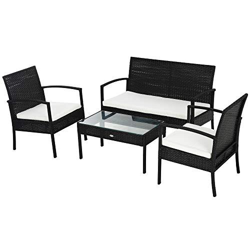 Outsunny Polyrattan Sitzgruppe Garnitur Lounge Sofa Gartenset 7 TLG. mit Kissen, Schwarz