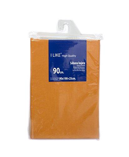 I LIKE Sabana Bajera Ajustable Naranja 100% ALGODÓN Cama 90 (90 X 190 + 25 cm)