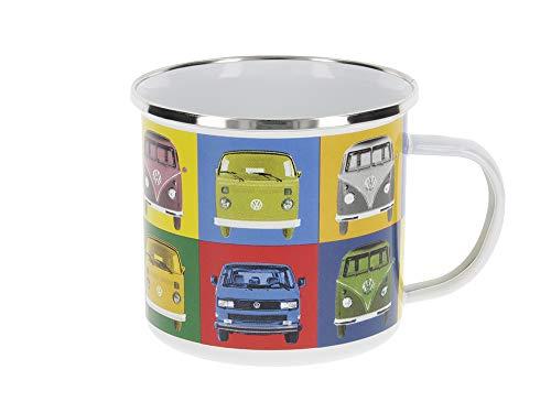 BRISA VW Collection - Volkswagen Furgoneta Hippie Bus T1 Van Taza de Café metálica Esmaltada en Caja de regalo, Copa de Té, Decoración de la Mesa/Outdoor/Camping/Souvenir (Multicolor)