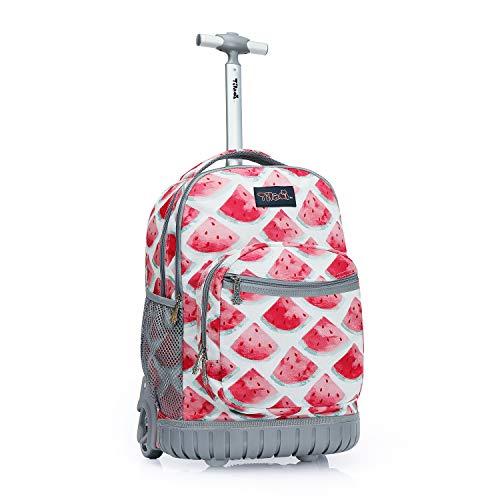 Tilami Rolling Backpack 19 inch Wheeled LAPTOP Boys Girls Travel School Student Trip, watermelon