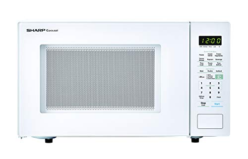 SHARP White Carousel 1.4 Cu. Ft. 1000W Countertop Microwave Oven (ISTA 6 Packaging), Cubic Foot, 1000 Watts (Renewed)