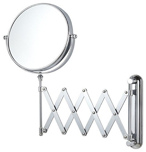 SBD Stainless Steel Makeup Mirror with 5X Magnifying and Wall Bracket with Adjustable Frame; 8-Inch; Silver