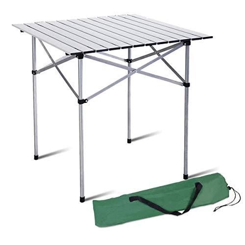 Lsmaa Aluminio Rueda for Arriba Mesa Plegable portátil for Trabajo Pesado Comedor de Picnic Camping al Aire Libre con la Bolsa (70 x 70 x 70 cm)