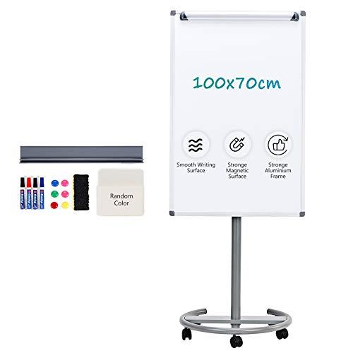 S SWANCROWN Flipchart Whiteboard auf Rollen, Magnetisch und Abwischbar, 100X70cm