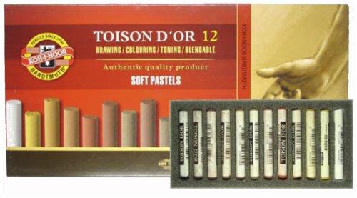 Koh-I-Noor Boîte de 12 pastels secs tendres à pointes rondes, nuances de marron