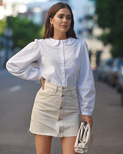 The Drop Women's White Peter Pan Collar Button Down Shirt by @paolaalberdi