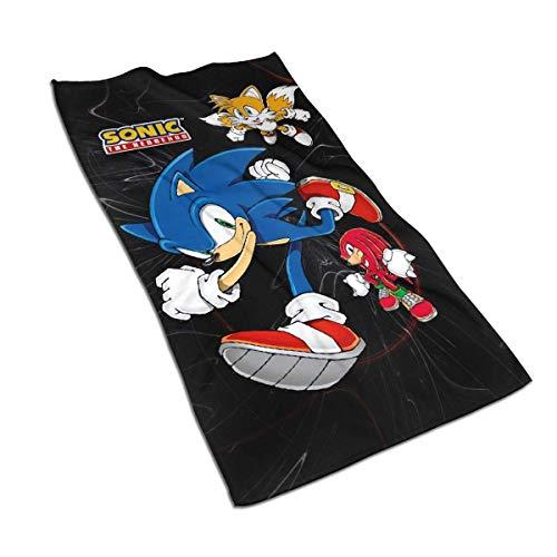 Toalla de baño de Microfibra de Secado rápido Sonic The Hedgehog - Sonic, Tails y Knuckles Toalla Facial Suave Toalla de baño Deportiva Toalla de Secado rápido 40 * 70cm