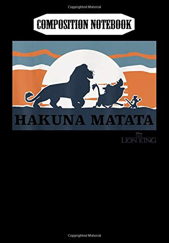 Composition Notebook: Disney Lion King Retro Hakuna Matata Trio Silhouette, Journal 6 x 9, 100 Page Blank Lined Paperback Journal/Notebook
