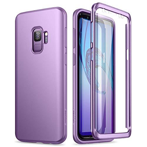 SURITCH Kompatibel mit Samsung Galaxy S9 Hülle 360 Grad Hüllen mit Integriertem Bildschirmschutz Silikon Komplettschutz Handyhülle Schutzhülle für Samsung Galaxy S9 (lila)
