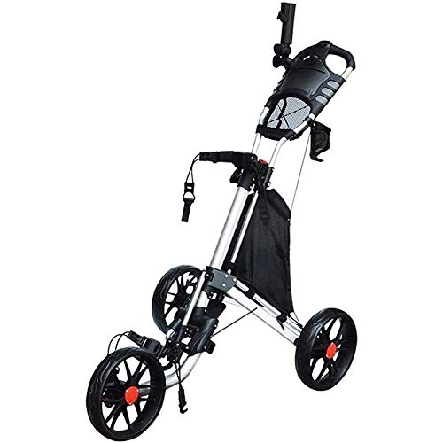 HFJKD Golf Trolley Golf Cart 3 Räder Leichter Push Cart Klappbarer Golf Trolley mit Getränkehalter Schirmständer