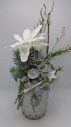 Weihnachtsgesteck Tischgesteck Wintergesteck Magnolie Kugeln Stern Tanne weiß
