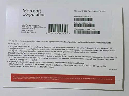 Windows 10 Famille OEM | 64 bit | DVD | Français | Windows 10 Home OEM