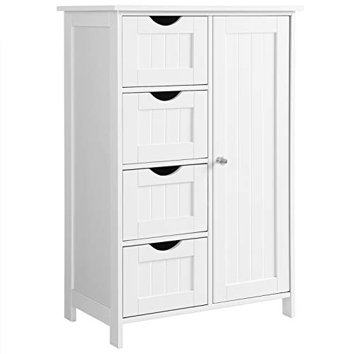 VASAGLE Bathroom Storage Cabinet, Floor with Adjustable Shelf and Drawers, -
