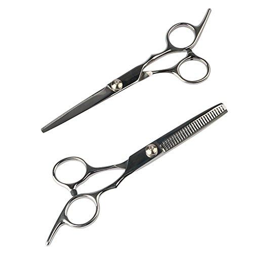 NouveLife Set mit Profi-Friseurschere und Ausdünnschere, Edelstahl, sauberer Schnitt, inkl. Aufbewahrungstasche mit Reißverschluss, 2er-Set