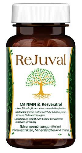 ReJuval® - mit NMN(Nicotinamid-Mononukleotid) & Resveratrol - EGCG Antioxidantien hochdosiert - Vegan Supplement - Anti Aging Kapseln - Made in Germany