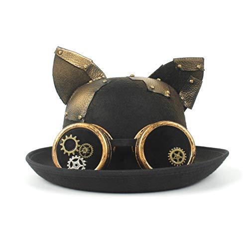 GAOERJI Chapeau Fashion Lady Chapeau Bowler Vintage Steampunk Gear Lunettes Noir Chat Oreille Chapeau Crack Unisexe Couples Chapeau De Fête Chapeaux (Couleur : Noir, Taille : 56-58CM)