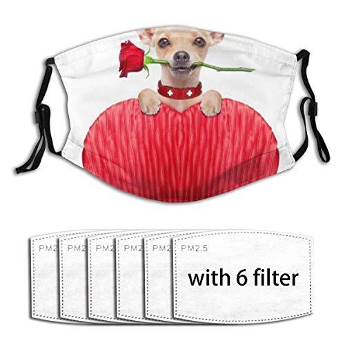 ZORMIEY Face Cover Chihuahua Mund Hund Herz Humor hält rote Rose Tiere Wildlife Holidays Wiederverwendbare Anti-Staub-Mund-Bandanas mit 6 Filtern