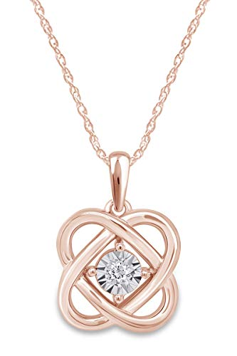 White Natural Round Diamond Accent 10k Rose Gold Celtic Knot Pendant Necklace Jewelry For Womens 18'