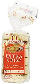 Oroweat Extra Crisp English Muffins 6 ct bag (Pack of 2, total of 12 muffins)