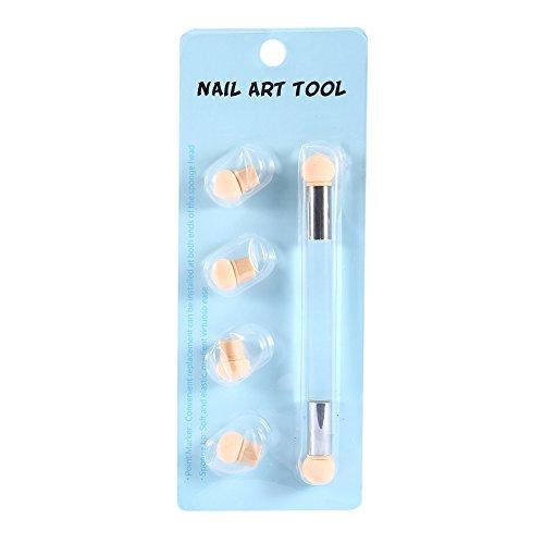 Nail Art Sponge Brush Brosse à Ongles, 2 couleurs Gel UV à double extrémité Nail Art Peinture Gradient Shading Pen Brush avec 4 têtes d'éponge supplémentaires(Clair)