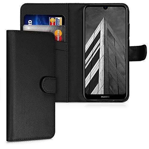 kwmobile Hülle kompatibel mit Huawei Y6s (2019) - Kunstleder Wallet Hülle mit Kartenfächern Stand in Schwarz