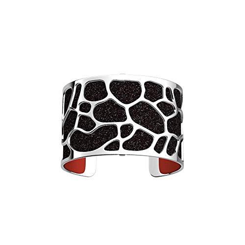 Les Georgettes - Bundle - Armreif Silber 40mm Leopard inkl. Ledereinsatz Glitzer Schwarz/Rot