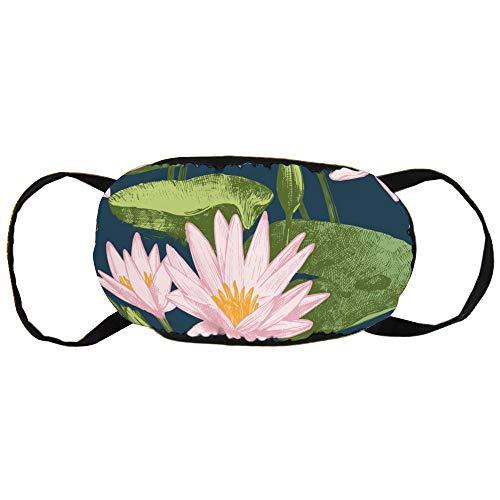 Stofvervuilingsmasker, Waterlelie Bloemen Vector Imag, Zwart Oor Pure Katoen masker, Geschikt voor Mannen en Dames Maskers
