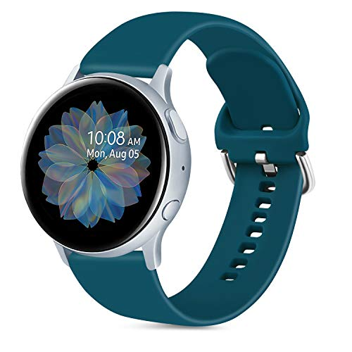 Oumida 20mm Correa Compatible con Samsung Galaxy Watch Active 40mm/Active2 40mm 44mm,Pulseras de Repuesto de Silicona Suave para Samsung Galaxy Watch 42mm/Watch 3 41mm/Gear Sport(L,Verde Oscuro)