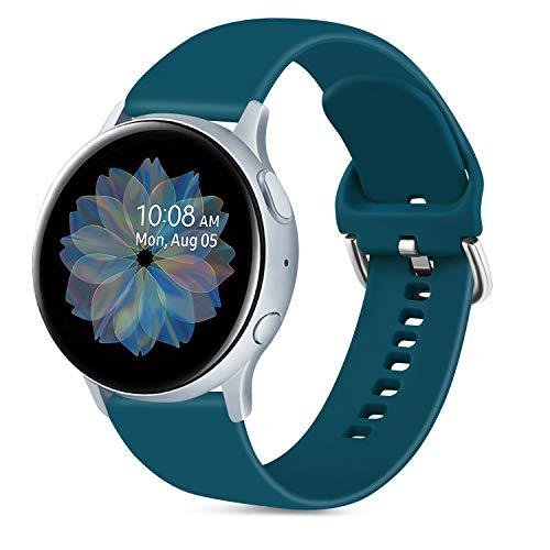 Oumida 20mm Correa Compatible con Samsung Galaxy Watch Active 40mm/Active2 40mm 44mm,Pulseras de Repuesto de Silicona Suave para Samsung Galaxy Watch 42mm/Watch 3 41mm/Gear Sport(S,Verde Oscuro)