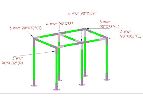 Simond Store Canopy Fittings KIT for 10'X20' Frame Slant ROOF CARPORT Tent Shade Greenhouse