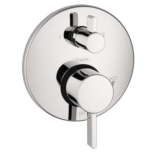 hansgrohe Ecostat Modern Premium Easy Control 2-Handle 7-inch Wide Pressure Balance Shower Valve Trim with Diverter in Chrome, 04447000