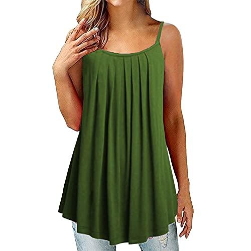 PRJN Tops Casuales Plisados para Mujer Tops camiseros Camisetas sin Mangas de Verano Casuales para Mujer Chalecos Plisados Camisetas sin Mangas para Mujer Camisolas con Columpio para Mujer