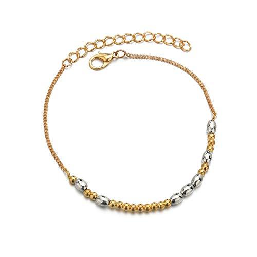 zhppac Ankle Bracelets Ladies Bracelets Sandal Anklet Bead Ankle Bracelet Sterling Silver Anklet Titanium Steel Anklet Gold Anklet Large Length Anklet Gold